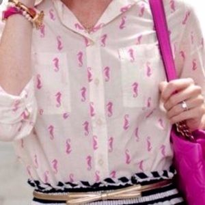 Merona Seahorse print Top Shirt Pink White Med